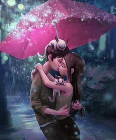For what it's worth: you can drug me outside just to kiss me in the rain any day. By Zac Retz Love Cartoon Couple, Cute Love Cartoons, Cute Couple Art, Anime Love Couple, Anime Couples, Cute Couples, Animation, Couple Amour Anime, Photo Manga