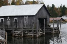 One of many historic Les Cheneaux boathouses-- this one's on Cedarville Bay.
