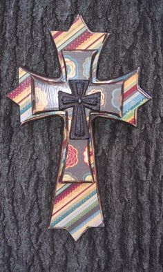 Decorated Wooden Layered Wall Cross. $35.00, via Etsy.