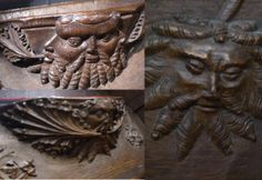 Green Man carvings on a misericord in the Church of St. Mary and All Saints, Whalley, Lancashire, England