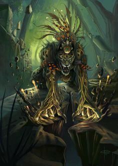 "In Aztec mythology, Tepeyollotl (""heart of the mountains""; also Tepeyollotli)…"