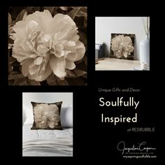 Vintage Peony Bloom~by Jacqueline Cooper~Flower lover? This up close modern sepia view of a Peony blossom in full bloom is bound to be a hit! It can be purchased at REDBUBBLE as a pillow, print or on many other great products. Just click on the visit link below! Visit myaspiringsoulfullife.com for more inspirational photos and motivational quotes, poems, and short stories.