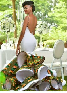 Most of the time, African wedding dresses are more captivating and colorful than the white, Western-world bridal attire. Let's have a look: African Fashion Designers, African Inspired Fashion, African Print Fashion, Africa Fashion, African Prints, African Prom Dresses, Latest African Fashion Dresses, African Dresses For Women, African Women