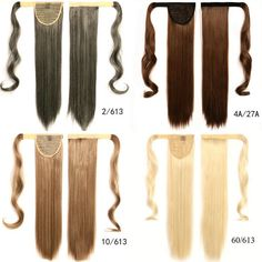 """Hot 60cm 26"""" Long Ponytail Clip In Pony Tail Hair Extensions Wrap on Hair Piece Straight Style 100% Top Quality Ponytails 100g"""