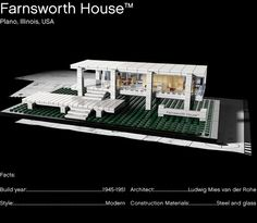 Mies Van Der Rohe's Farnsworth House in LEGO.
