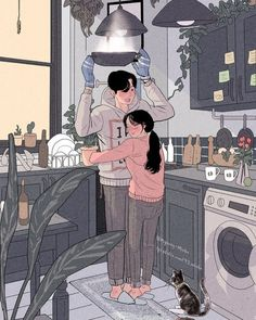this korean artist giving serious couplesgoals through his illustration drawing artist couplesg Art And Illustration, Illustration Mignonne, Korean Illustration, Portrait Illustration, Watercolor Illustration, Cute Couple Art, Anime Love Couple, Cute Anime Couples, Anime Couples Cuddling