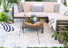 If you're tired of throwing away weather beaten rugs or walking across grimy concrete, give this painted patio idea a go this summer.