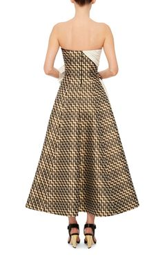 Strappless Obi Jacquard Gown  by ADEAM Now Available on Moda Operandi