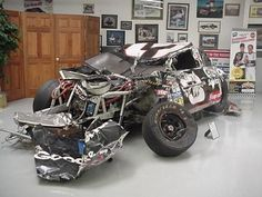 Dale Earnhardt's damaged car from Talladega 1996. He broke his collarbone, sternum and Right shoulder in the crash.