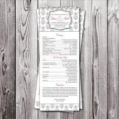 Wedding Program, Chalkboard Wedding, Rustic Wedding, Barn Wedding ...