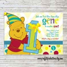 Winnie the pooh invitation this but 1 insted of 2 winnie the pooh modern winnie the pooh birthday invitation girl or boy filmwisefo