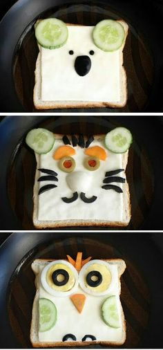 """Say """"No"""" to boring sandwiches!! It's time for **Fun With Food** :)  #funwithfood #creativefood #drizzle #sandwich #animaltoast"""