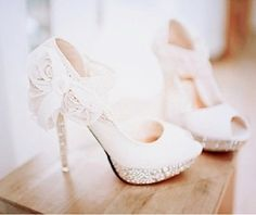 White lace flower heels
