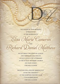 Vintage pearls and lace wedding invitation vintage elegance is elegant wedding invitation lace and pearls wedding invitation elegant vintage lace wedding invitation reno design wedding invitation sampleslace stopboris Image collections