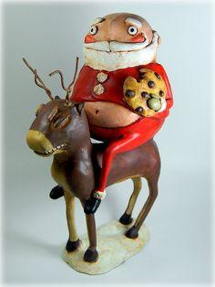 Wide Load Santa by Lance Perry Snowman Christmas Decorations, Christmas Arts And Crafts, Xmas Ornaments, Holiday Crafts, Holiday Ideas, Christmas Ideas, Paper Mache Clay, Paper Mache Sculpture, Primitive Christmas