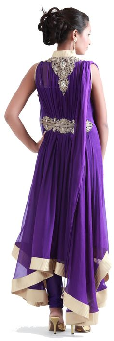 Purple anarkali - back