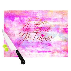 "Ebi Emporium ""Je T'aime II"" Abstract Pink Cutting Board"