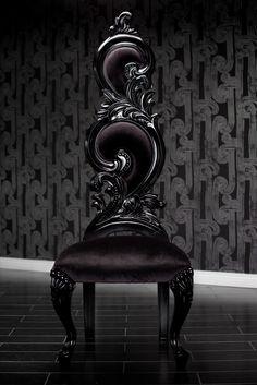4214 BLACK VELVET BAROQUE HIGH BACK CHAIR | by Diva Rocker Glam (310) 652-8711