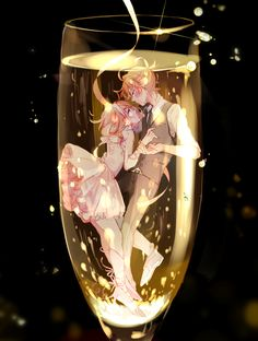 Rin and Len #underwater #champagne #holdinghands