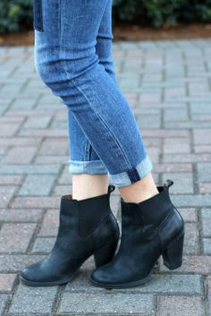 short black leather booties