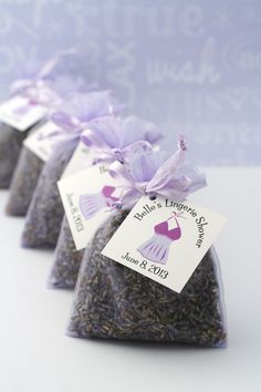 Share the floral fragrance of natural lavender with your bridal shower guests. Customize tags and colors of these lavender sachets to match any theme, for lingerie showers or bridal teas. Great to tuck into a drawer of linens.