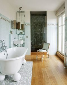 San Sebastian Apartment Renovated by Its Architect Owners & Andrée Putman Modern Interior Design, Interior Architecture, Stylish Interior, Glass Brick, Bathroom Pictures, Beautiful Space, Design Firms, Interiores Design, White Walls