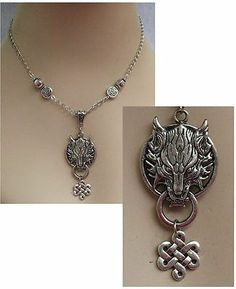Silver Celtic Knot Wolf Pendant Necklace Jewelry Handmade NEW Fashion