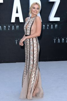 5 July 2016 - Margot Robbie stole the show in an elegant Miu Miu gown and Messika jewellery for the London premiere of The Legend of Tarzan. - HarpersBAZAAR.co.uk