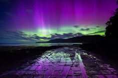 Aurora at Tessellated Pavement on the Tasman Peninsula