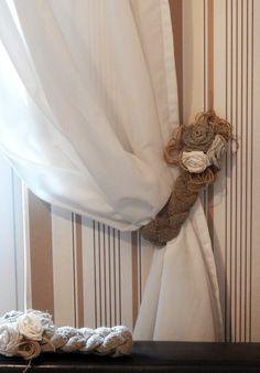 Rustic Curtain Tie Backs, Two Burlap Tie Backs, Linen Flower Curtain Tie Back, Curtain Holdbacks, Country Home by Vishemir on Etsy