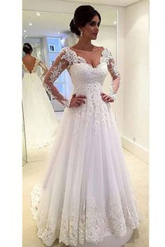 Sexy V-neck Long Sleeves V-back Tulle A-line Lace Wedding Dress