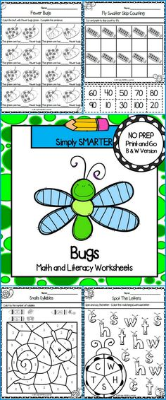 Are you looking for NO PREP math and literacy activities? Then enjoy this resource which is comprised of FORTY INSECT themed WORKSHEETS. The worksheets can be used for guided math, math centers, word work, literacy centers, early finishers, enrichment, remediation, independent work, morning work, and homework. ALL YOU NEED TO DO IS PROVIDE PENCILS, CRAYONS, CLIPS, GLUE, AND DICE.