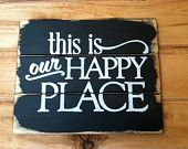 """this is my Happy Place hand-painted wood sign 13""""w x 10 1/2""""h"""
