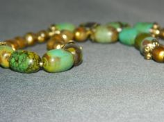 Green Magnesite And Golden Pearl Necklace - SALE