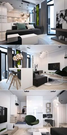 This tiny apartment was designed by Yana Osipenko for a young family in Kiev which has perfect modern interior design with chic neutral tones Studio Apartment Furniture, Small Apartment Interior, Interior Design Living Room, Living Room Designs, Lofts, Tiny Loft, Appartement Design, Tiny Apartments, Inspiration Design