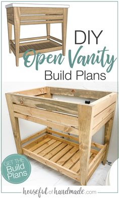 Upgrade your bathroom on a budget with these DIY bathroom vanity plans. The design of this vanity is made to be built cheap with inexpensive lumber and no hardware needed! Build plans from Housefulofhandmade.com. Diy Bathroom Vanity, Diy Vanity, Diy Bathroom Remodel, Budget Bathroom, Bathroom Ideas, Bathroom Plans, Bathroom Lighting, Diy Furniture, Palette Furniture