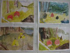 Taistelevat metsot. Tausta on tehty vesiväreillä ja linnut ovat tehty ensiksi erilliselle paperilla puuväreillä, ja liimattu työhön.  Kuva oli heijastettuna netistä tykillä, lyijykynällä hahmoteltiin ensiksi paperille asiat ja sitten vesiväreillä maalaamaan. Jos ei ole tehnyt aiemmin vesiväreillä, niin tietyn sävyn etsimisestä kannattaa puhua, miten löytyy uudestaan lähes sama sävy.