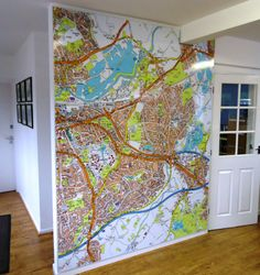 Parkers (Woodley) - Dibond internal wall map, cut to suit wall and ceiling. #WallMap #dibond  #Signage