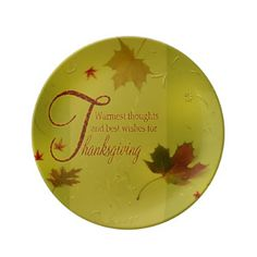 Thanksgiving Wishes Leaves   Porcelain Plate   Thanksgiving Day Family  Holiday Decor Design Idea