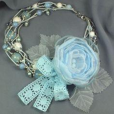 Купить Фея Облачного Сада. Колье, брошь-цветок и брошь-бант для девочки - голубой
