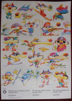 Original Poster Yugoslavia Sarajevo Vucko Winter Olympic Games 1984 Illustrated | eBay