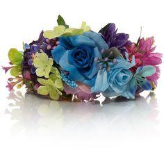Adria Festival Flower Bracelet ($12) ❤ liked on Polyvore featuring jewelry, bracelets, flower jewellery, gold tone jewelry, statement bracelet, flower bangle and chain link jewelry