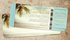 Vintage retro affordable save the date ticket boarding pass for your destination wedding to the Dominican, Mexico, any island retreat complete with shady palm tree and beach scene. Can be produced as a save the date magnet. 50s look complete with aged paper look and sepia wash graphic.  Save the date is 9x4 printed on matte lynx 100 lb. card stock, good rigidity and more natural looking. Comes with cream envelopes. Minimum print order of 20 sets (invite/envelope) x $3.50/set. Pricing per set…