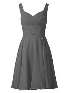 Simple Grey Straps A-line Knee Length Chiffon Bridesmaid Dress Would want this in light blue with a brown belt/sash