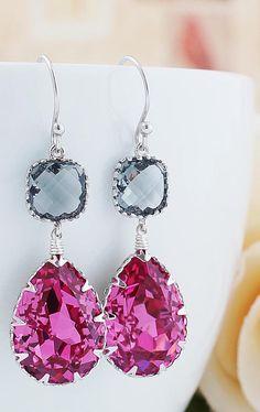 Hot pink Swarovski crystal earrings from Earrings Nation http://www.earringsnation.com/jewelry/bridesmaid-jewelry/rose-swarovski-crystal-with-black-diamond-glass-dangle-earrings#.VDsKd7CUdAo