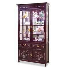 """40in Rosewood Mother of Pearl Inlaid Curio Cabinet by ChinaFurnitureOnline. $1890.00. Dimensions: 40""""W x 14""""D x 78""""H. Hand-applied dark cherry finish. Upper: three adjustable shelves behind glass double doors, mirror back, halogen lights. Lower: two drawers and a double door compartment. A grand curio cabinet to display your treasured collectibles. Hand inlaid mother of pearl flowers decorated the entire cabinet. Made of solid rosewood with traditional joinery techniques w..."""