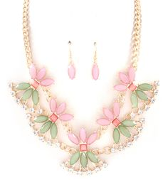 Maggie Necklace Set in Floret, $58 at Emma Stine Limited. Beautiful soft orchid and sage colors in this piece.