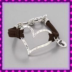 """❤️Leather Bracelet w/Silver Open Heart 💟🍥💟BEAUTIFUL Brown Leather Bracelet with Silver Hammered Open Heart Design and Love Charm dangle, so CUTE! Absolute must have for your collection. Matching Necklace located in my closet. Toggle Closure. Approx. measurement - 7.85"""" Circumference - Will fit most wrists.💟🍥💟 Boutique Jewelry Bracelets"""