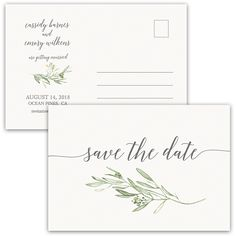 Laurel Leaves Greenery Wedding Save the Date Postcard which is perfect for greenery weddings, rustic weddings and industrial weddings as well.
