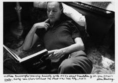 Burroughs reading Vents in 1950, photo taken by Allen Ginsberg.